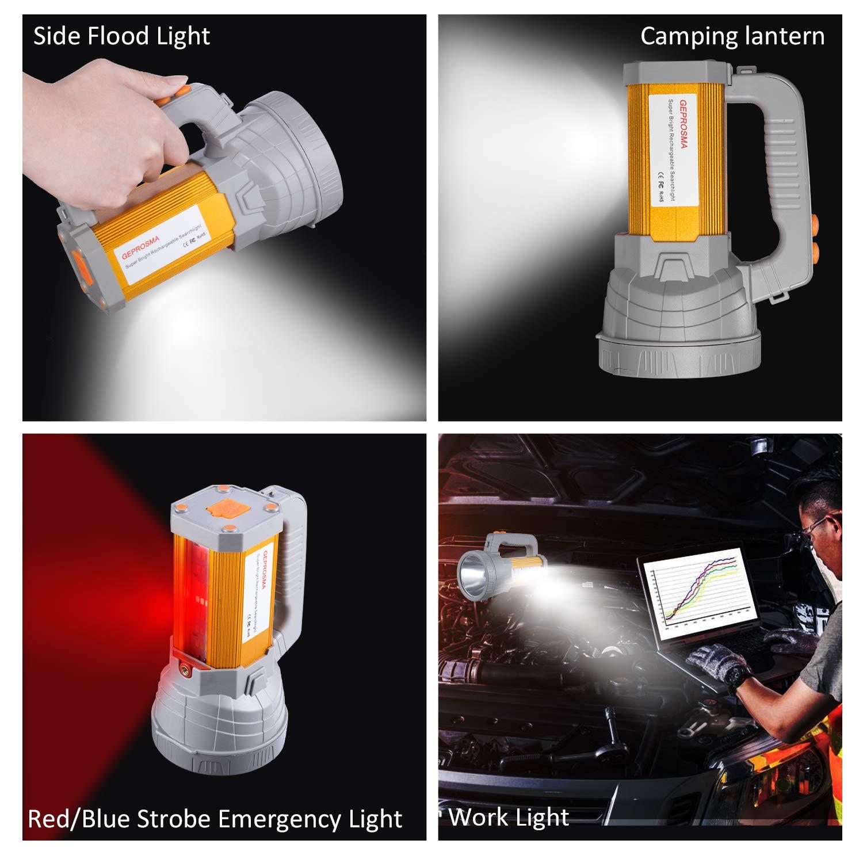 Super Bright Rechargeable LED Spotlight Flashlight High Powered 6000 Lumens CREE Handheld Searchlight Large 18650 Battery 10000mah Long Lasting Waterproof, Side Flood Light Camping Lantern Work Light by GEPROSMA (Image #1)