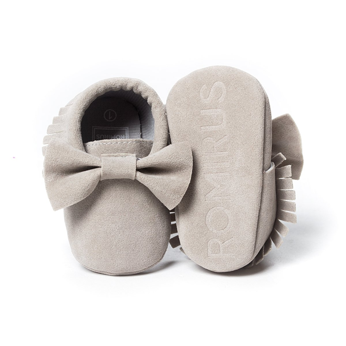 LIVEBOX Infant Baby Girls and Boys Premium Soft Sole Moccasins Tassels Prewalker Anti-Slip Toddler Shoes (S: 0~6 Months, Bow-Light Grey) by LIVEBOX (Image #4)