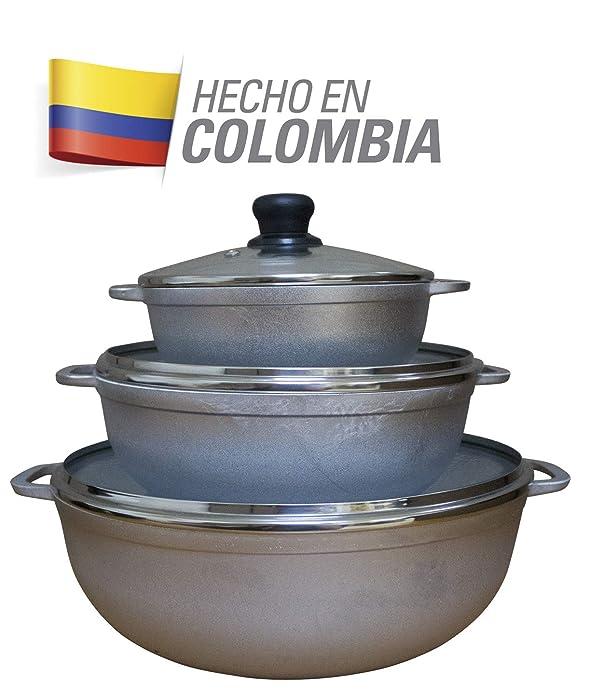 IMUSA USA GAU-89227 Traditional Colombian Natural Caldero Glass Lid & Steam Vent 3-Piece (1.4/3.4/6.6) Quart, Silver (Dutch Oven Set)