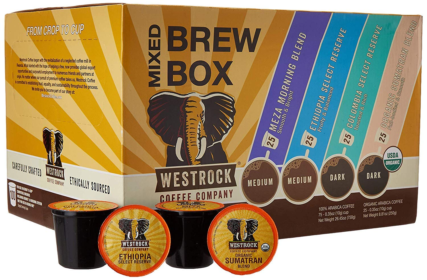 Westrock Coffee Company Mixed Brew Box 2.0 SS Cups 100 count (25ea Meza Morning Blend, Organic Sumatran, Ethiopian, Colombian)