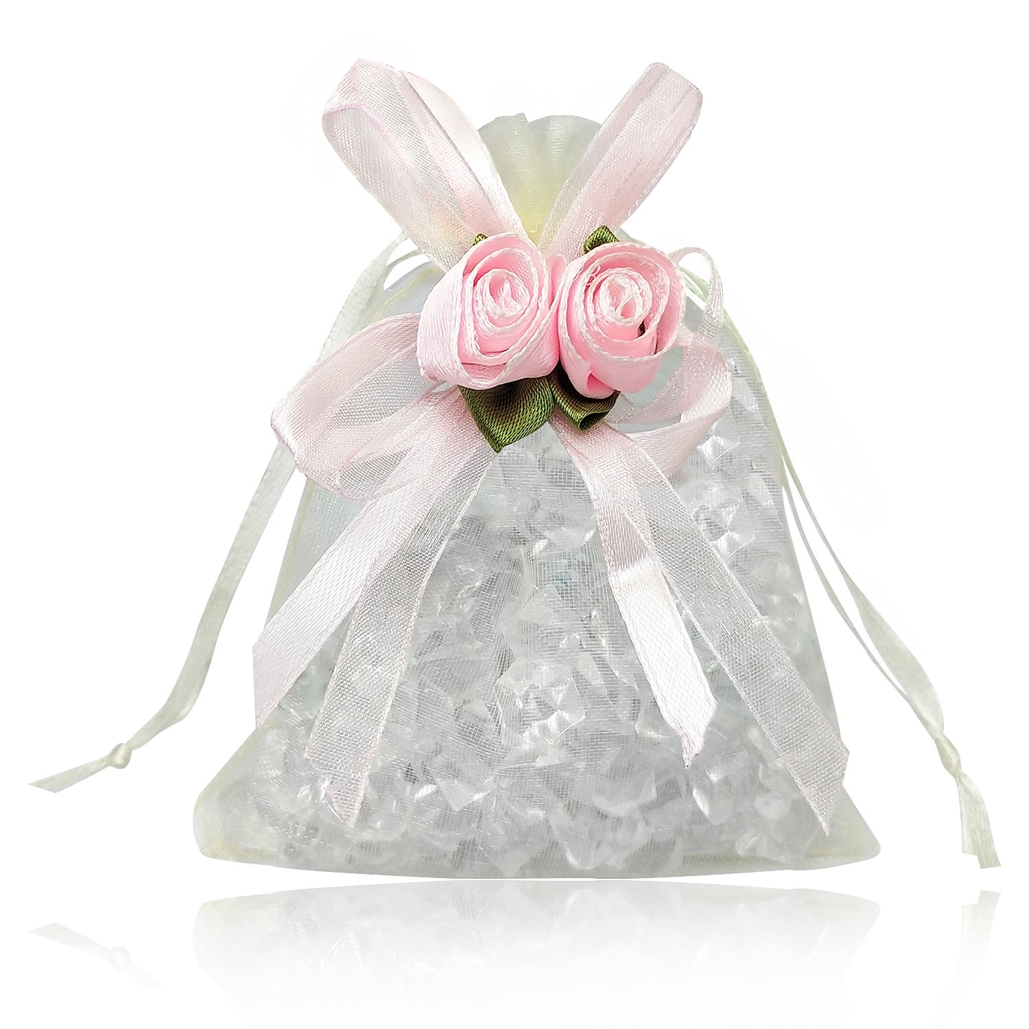 BZCTAH Tulie Drawstring Wedding Candy Pouch Jewelry Gift Bag, Organza Gift Bag Tulle Bags for Wedding Party, Set of 20Pcs Christmas, Beige, 7.87''x11.8''