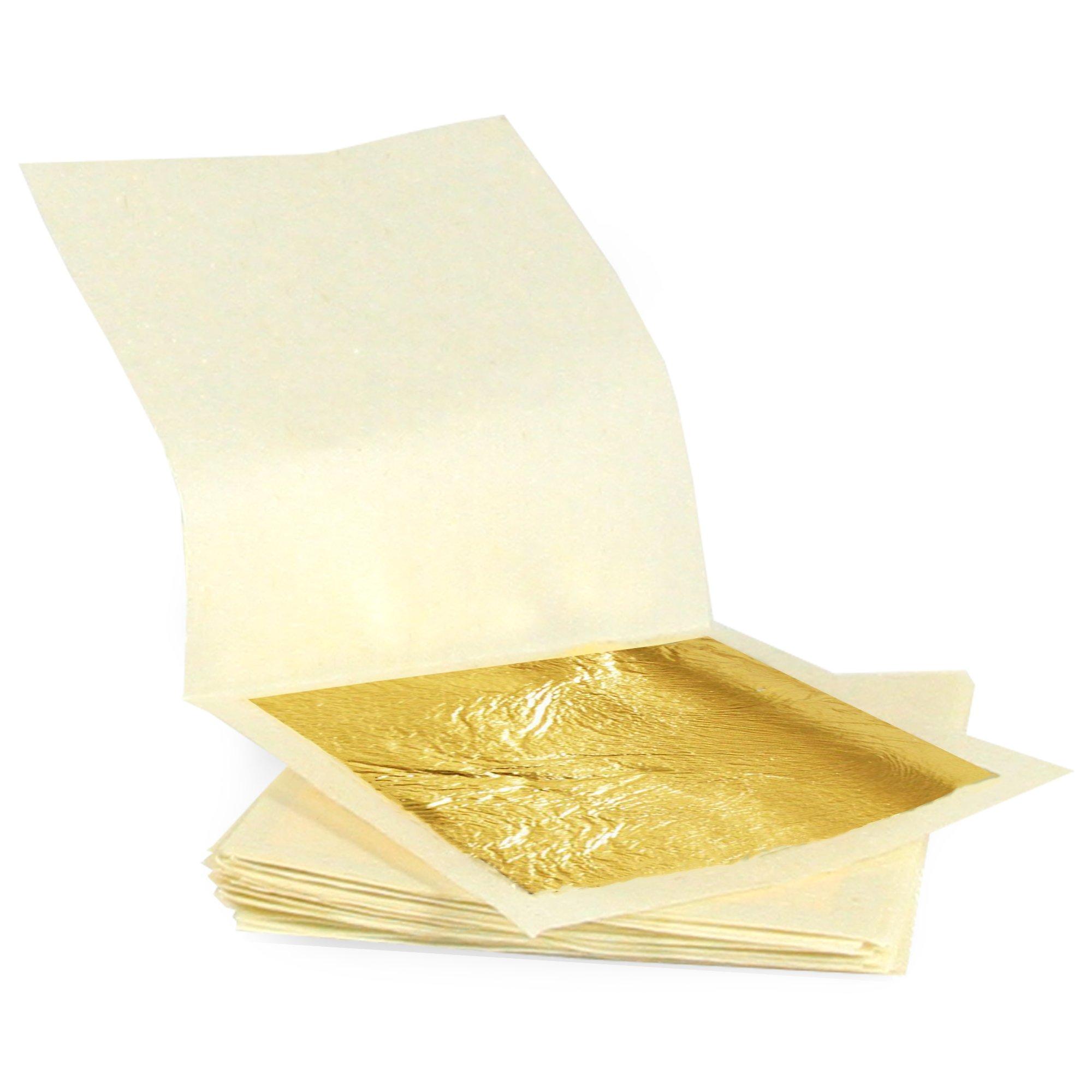 100 Gold Leaf Sheets Craft Foodkoncept New Gold Leaf Sheets 999//1000 Real Gold