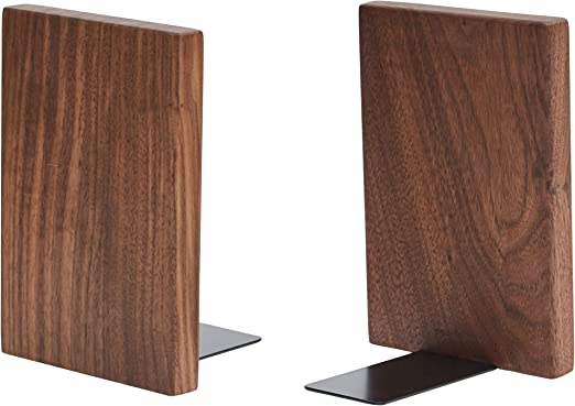 Beech-1 Pair Pandapark Wooden Bookends,Nature Coating,Updated Wood Book Stand