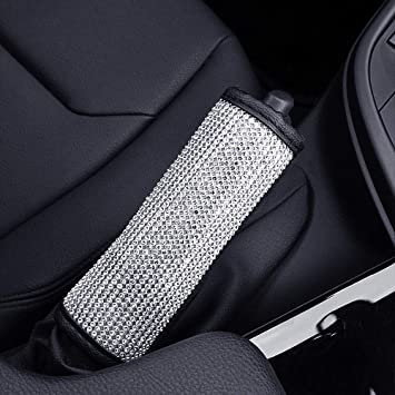 Cover for Hand Brake Exquisite Leather Edging Car Decor Accessory Soft Velvet Aristocracy Center with Bling Matrix Diamond Simple and Elegant Design ESKONKE Auto Handbrake Cover for Ms