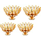 Brass Gallery Brass Small Bowl Crystal Diya Round Shape Kamal Deep Akhand Jyoti Oil Lamp for Home Temple Puja Decor Gifts (Size width-7cm)(Pack of 4)