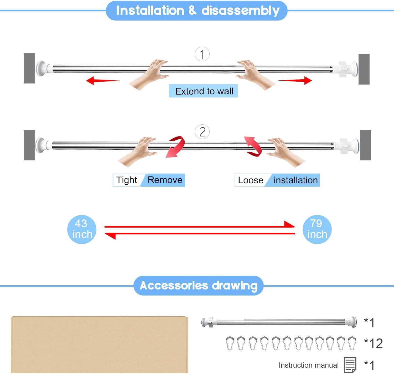 la Tension de Rideau de Douche 20-31 Tension Tringle /à Rideau en Acier Inoxydable Installation Facile Barre de Tension