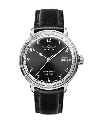 Zeppelin Watches 7046-2 - Reloj analógico de cuarzo para hombre con correa de piel, color negro: Amazon.es: Relojes