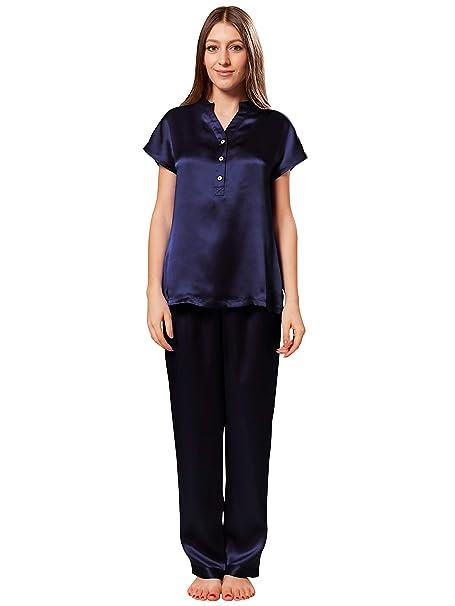 ElleSilk Set De Pijama De Seda para Mujer, Camisón De Seda, 22 Mamá,