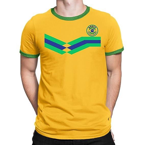 Tee Spirit Brazil Camiseta Para Hombre World Cup 2018 Fútbol New Style Retro