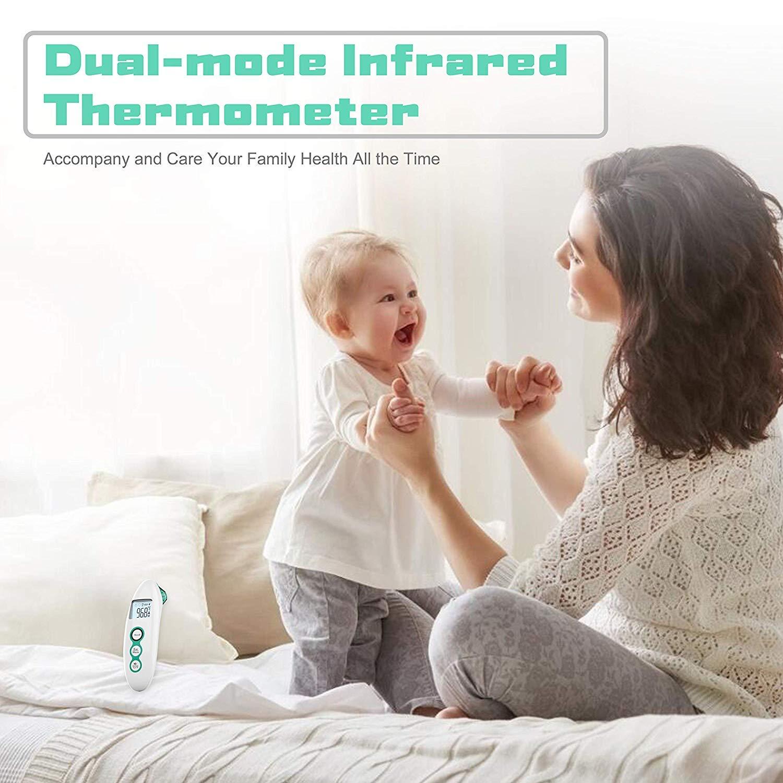 Speicherfunktion Fieberthermometer Infrarot Ohrthermometer Stirnthermometer Digital Thermometer mit Multifunktions Tricolor Fieberwarnung f/ür Baby und Erwachsene Blau mit Sofortiges Lesen