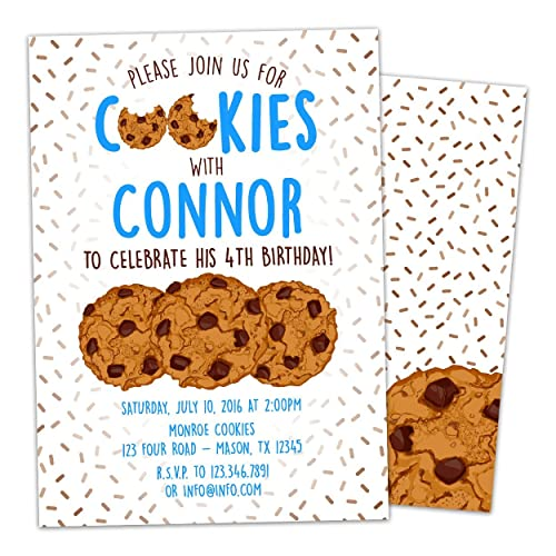 Amazoncom Cookie Party Invitations Cookie Birthday Party Invite