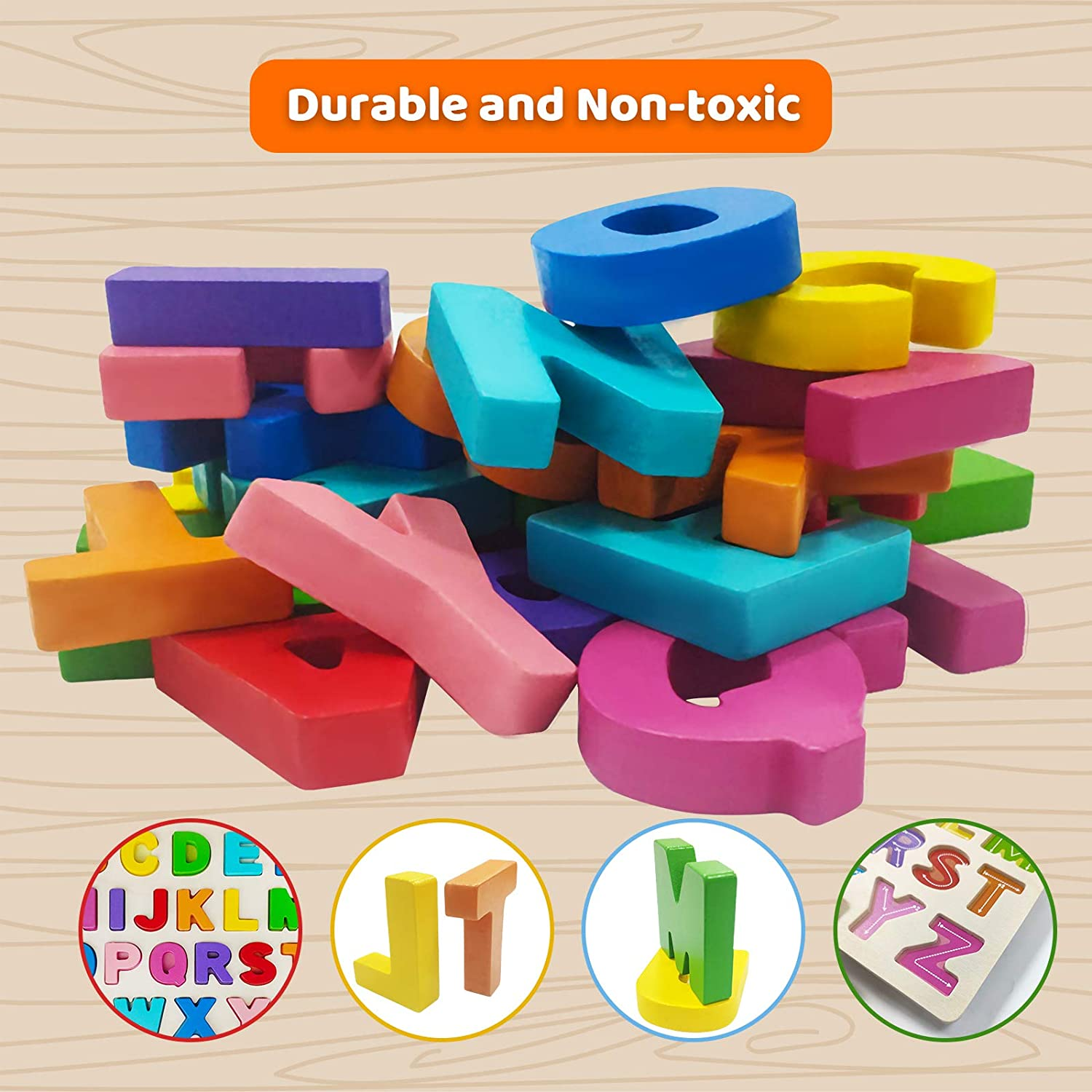 Storage Bag with ABC Flash Cards Toddler Alphabet Learning Educational Puzzle Toys Set for Boys and Girls Wooden Alphabet Puzzle Board Set of 4 ABC Puzzle Wooden Letter Blocks for Kids 1-6