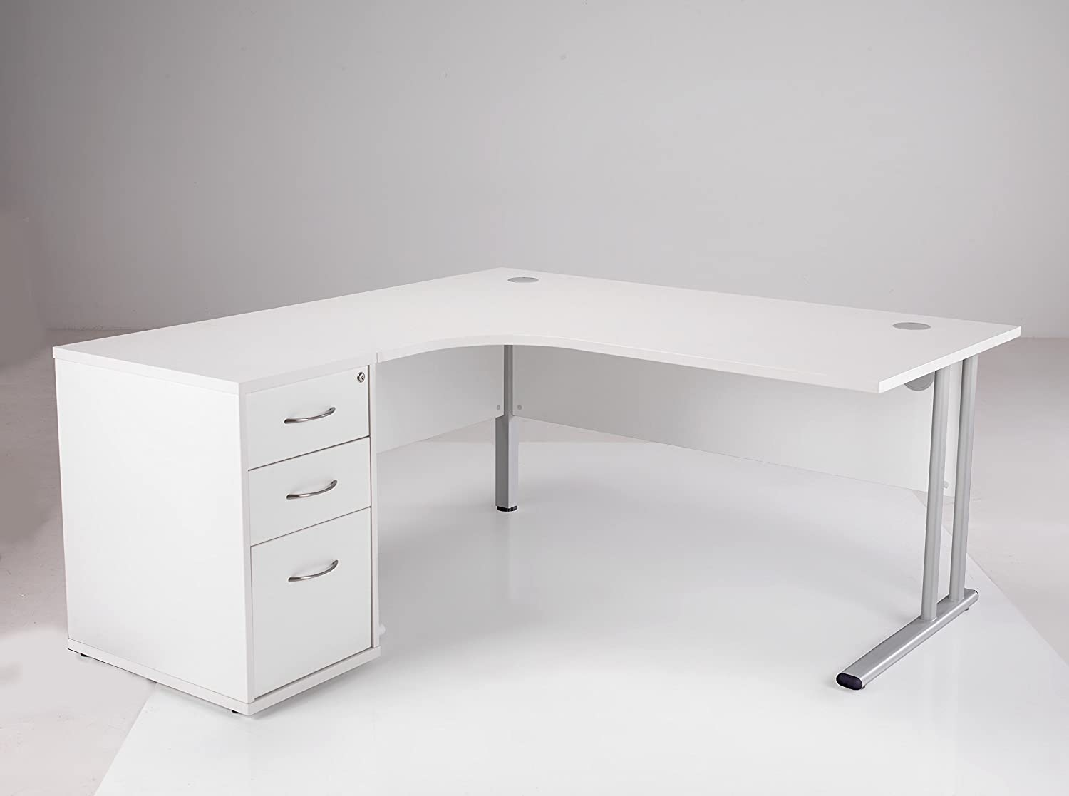 corner office furniture. BiMi 1600mm Ergonomic Left Hand Corner Desk With 3 Draw High Pedestal: Amazon.co.uk: Kitchen \u0026 Home Office Furniture