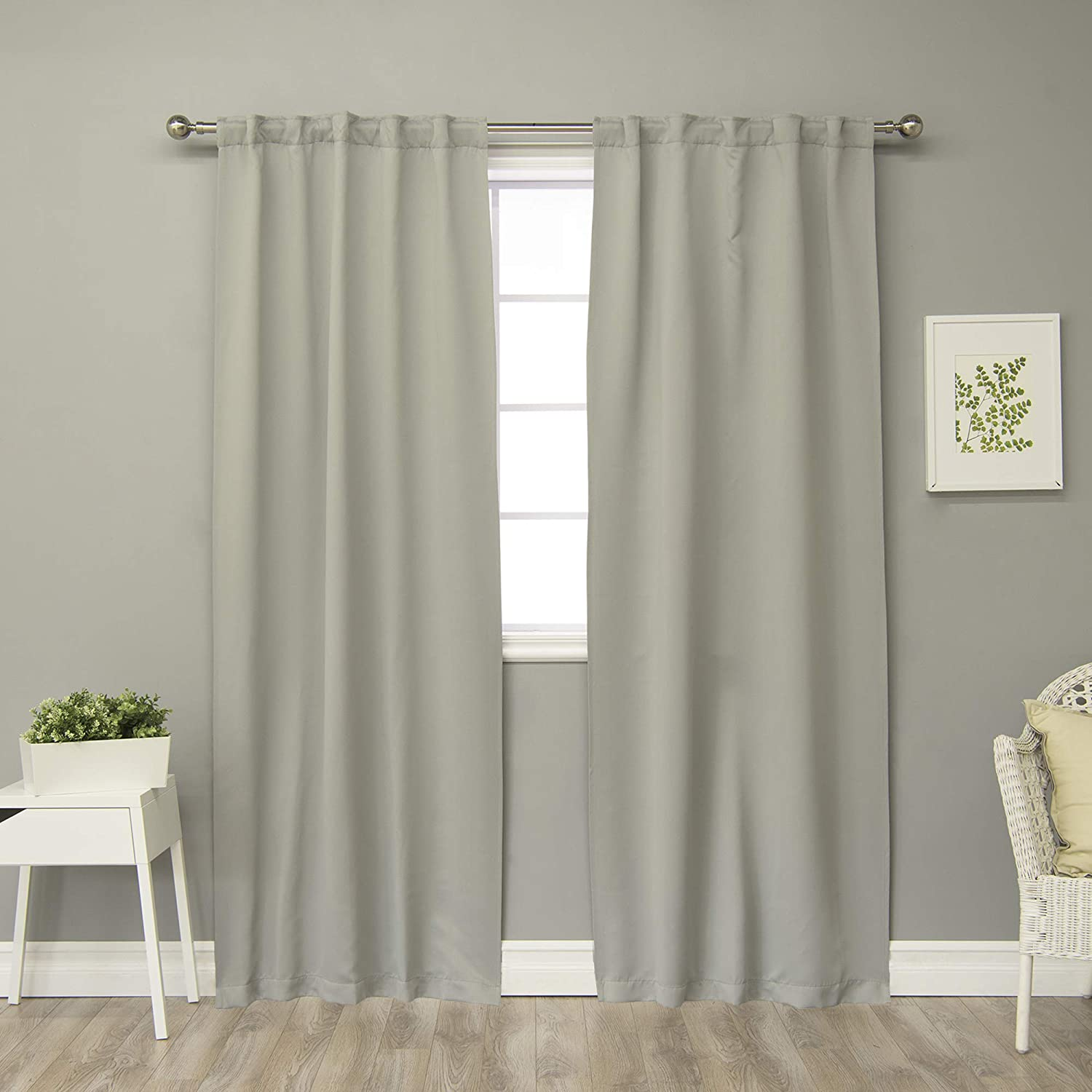 """Best Home Fashion Thermal Insulated Blackout Curtains - Back Tab/Rod Pocket 40W - (Set of 2 Panels) (40"""" W x 84"""" L, Dove)"""