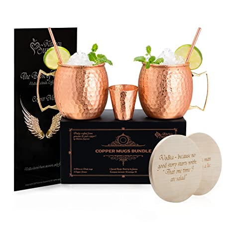 Copper Mugs Moscow Mule Set of 2 – 100% Real Pure Hammered Copper│16oz