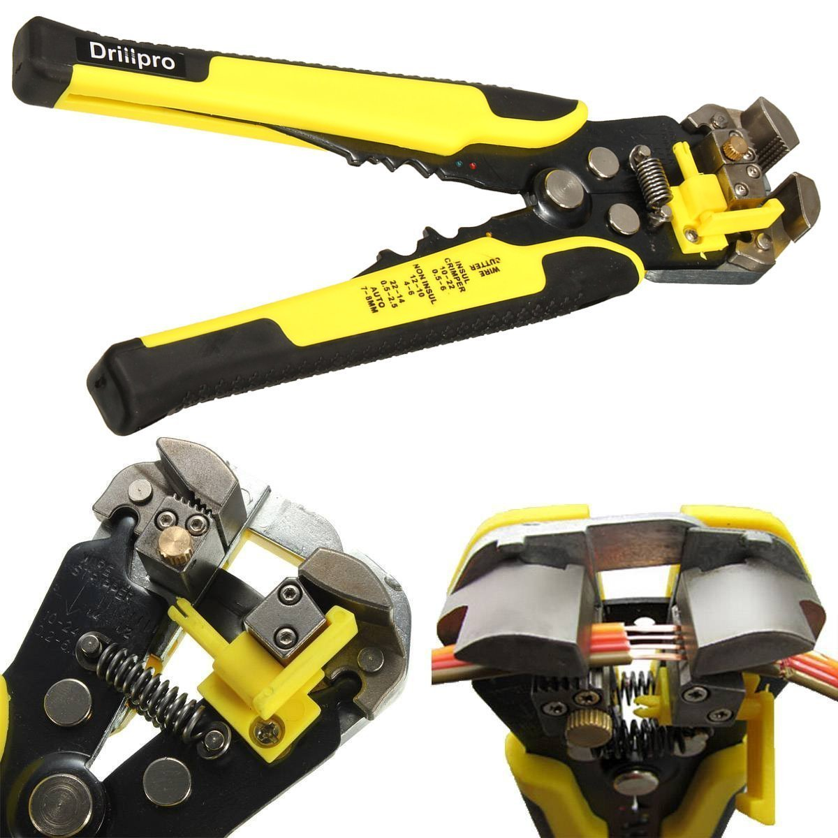 Wire Stripping Tool,Self-Adjusting Professional Multifunctional cable stripper/Crimping Stripping Cutting Pliers /Wire Stripper Plier Tool for Industry 10-24 AWG Stranded Wire Cutting by Drillpro by DRILLPRO (Image #1)