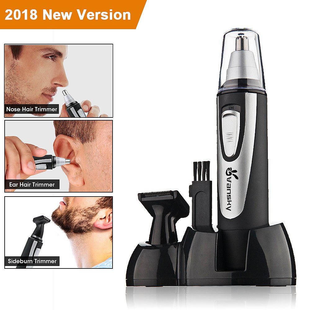 Ear Nose Hair Trimmer, Vansky 2018 Upgraded Nostril Ear Sideburns Facial Hair Clipper Removal for Men Women w/Waterproof Double-Edge Stainless Steel Blades,Wet/Dry Use,Battery-Operated Trimme Tool VS-NoseT1