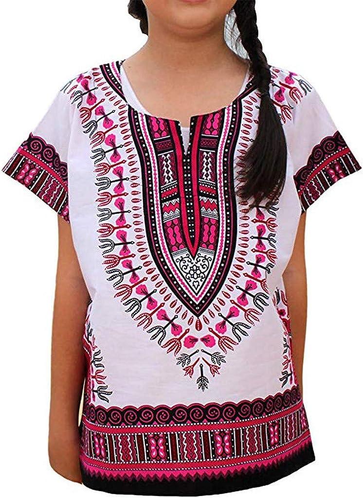 Jungs M/ädchen Hell afrikanisch Farbe Dashiki T-Shirt T-St/ück Tops