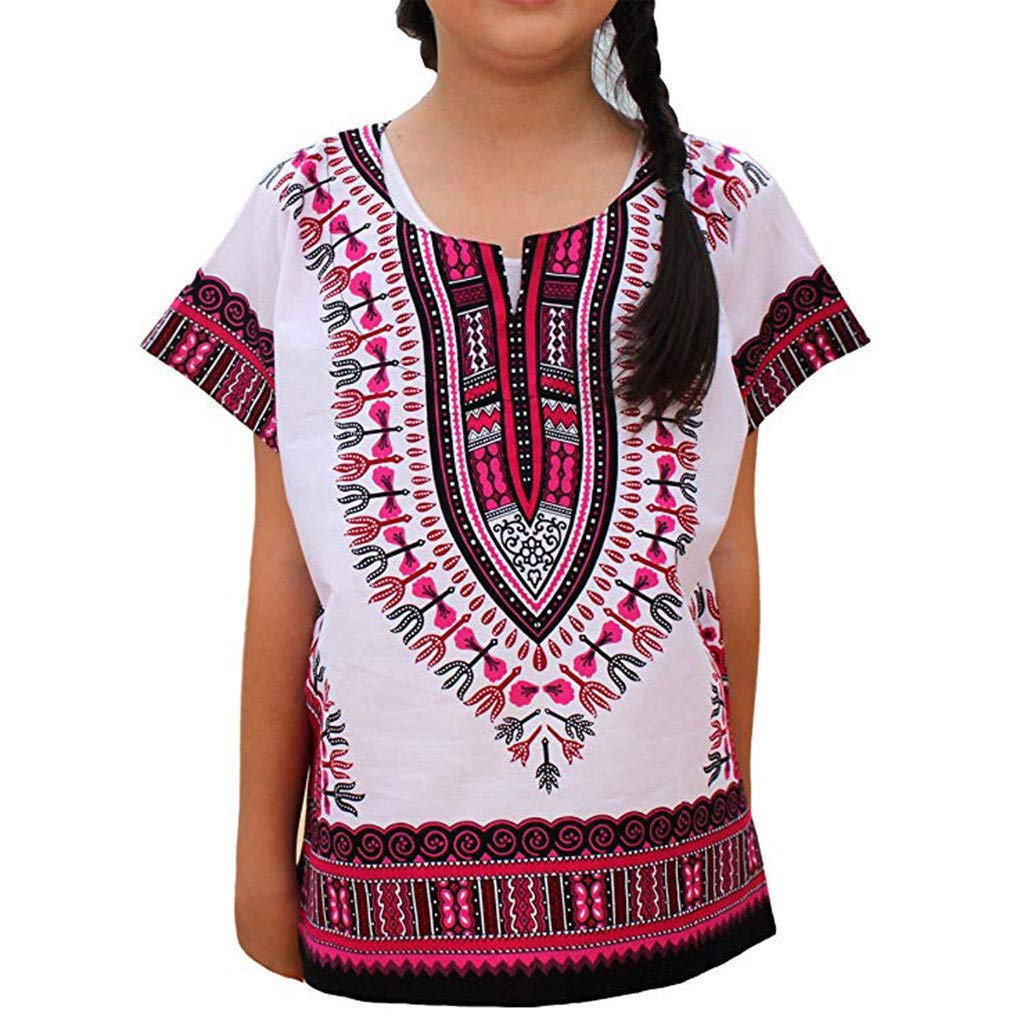 Boy Girl Unisex T-Shirt,Cool Casual Child Dashiki Bright African Colour Tee Tops in Summer (Hot Pink, Recommended Age:4-5 Years)