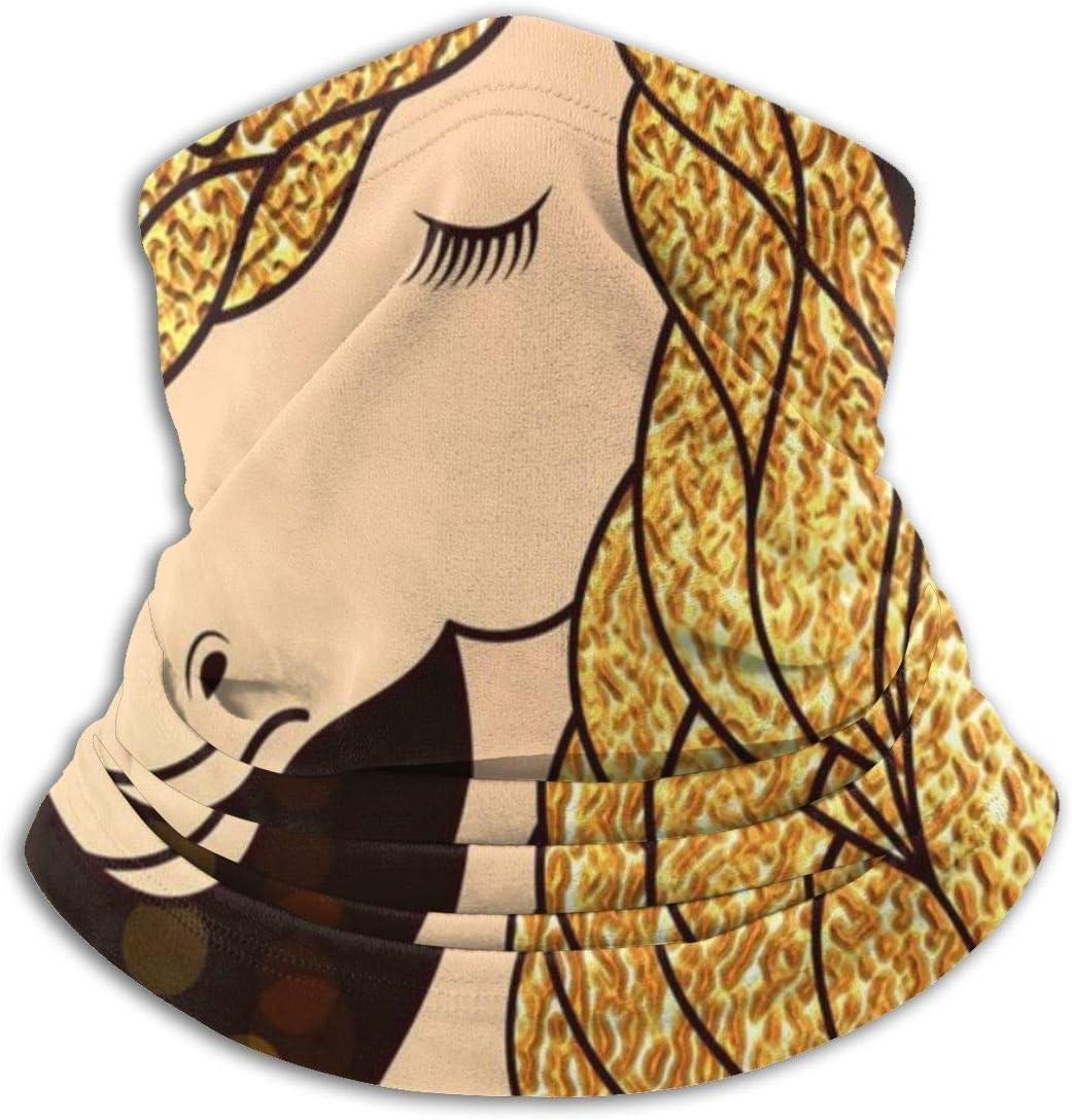 senob Uni-Corn con Cabello Dorado Estrellas Brillantes Headwear Neck Gaiter Warmer Winter Ski Tube Bufanda Máscara Fleece Face Cover Customized