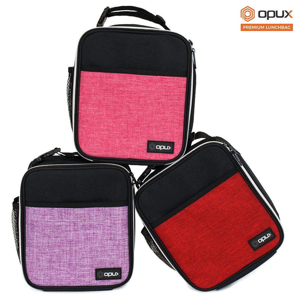 OPUX Premium Thermal Insulated Mini Lunch Bag | School Lunch Box For Boys, Girls, Kids, Adults | Soft Leakproof Liner | Compact Lunch Pail for Office (Heather Red) by OPUX (Image #8)