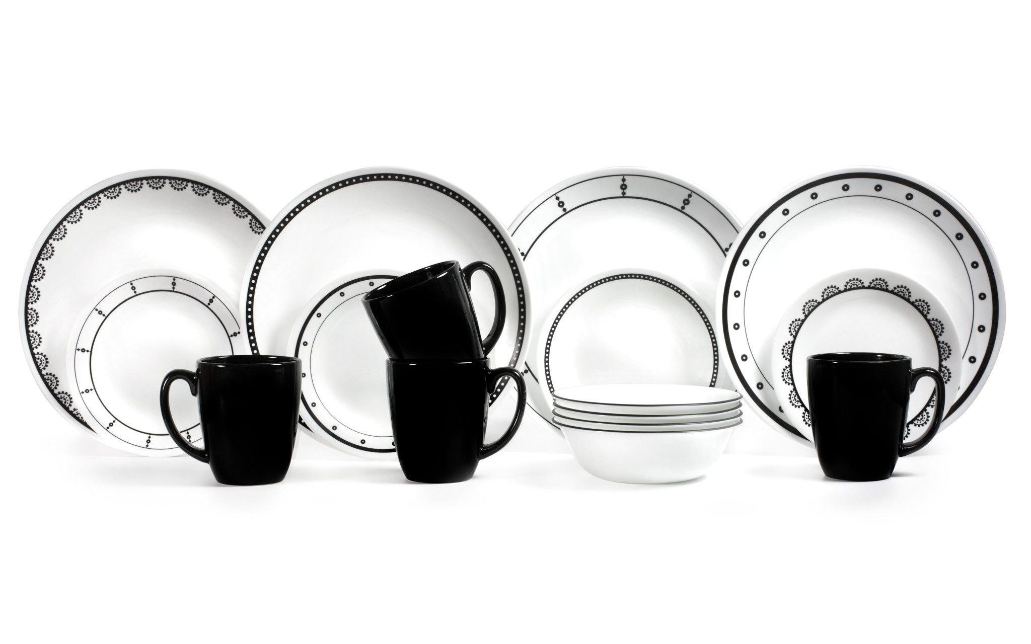 Corelle 1131599 Livingware Black and White 16-Piece Dinnerware Set, 5.75 x 11.25 x 11.00,