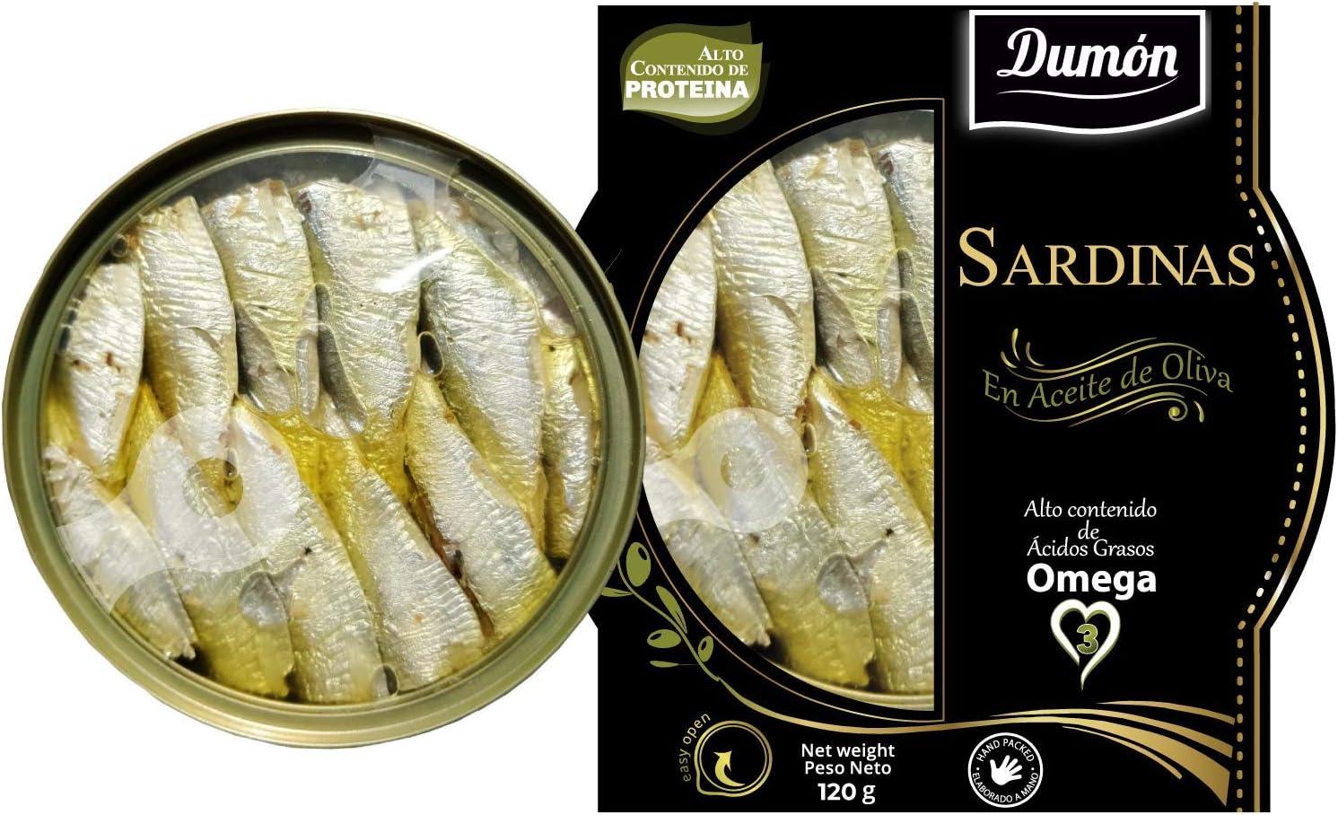 Dumon - 14 Unidades de 120 gr de Conserva de Sardina en Aceite de Oliva, Exclusivo Formato Transparente con Abre Fácil, Conserva de Pescado en Lata ...
