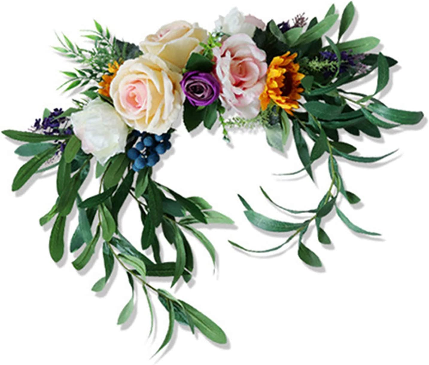 NMFIN Artificial Flower Swag, Handmade Floral Simulation Rose Peony Swag Arch Wreath Centerpiece for Wedding Home Front Door Garden Lintel Decoration
