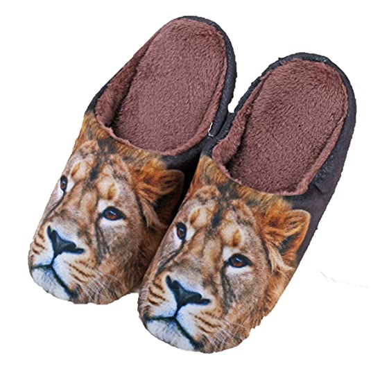Fashion Cartoon 3D Animal Head Cotton Man Slippers (S, Lion)
