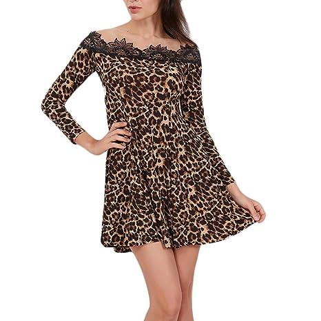 d122c69977 BANGGG Automne pour Femme Robes Slash Cou Manches Longues en Dentelle  Imprimé léopard Mini Robe Splicing Café Robe: Amazon.fr: Sports et Loisirs