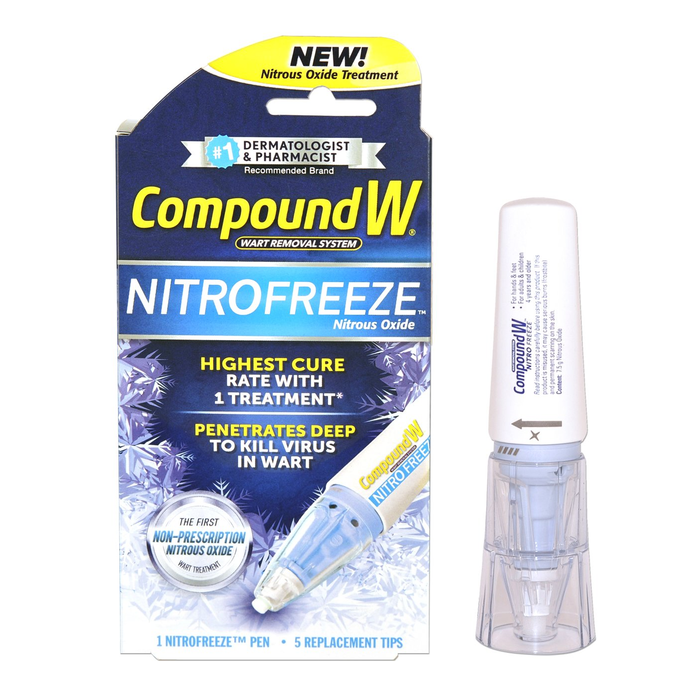 Compound W Nitrofreeze | Wart Removal | 1 Pen & 5 Replaceable Tips by Compound W