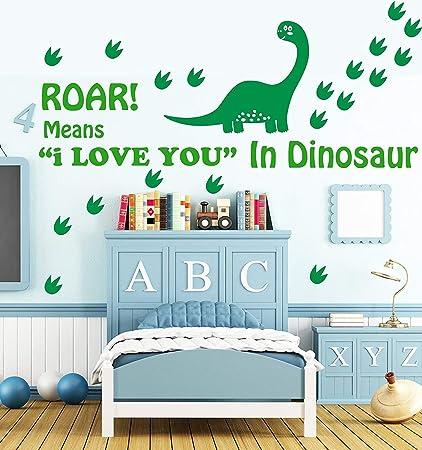 Delightful Amazon.com: Easma Dinosaur Wall Decals   Roar Means I Love You In Dinosaur  And Dinosaur Footprints Vinyl Sticker Boy Bedroom Nursery Wall Art Decals Green:  ...