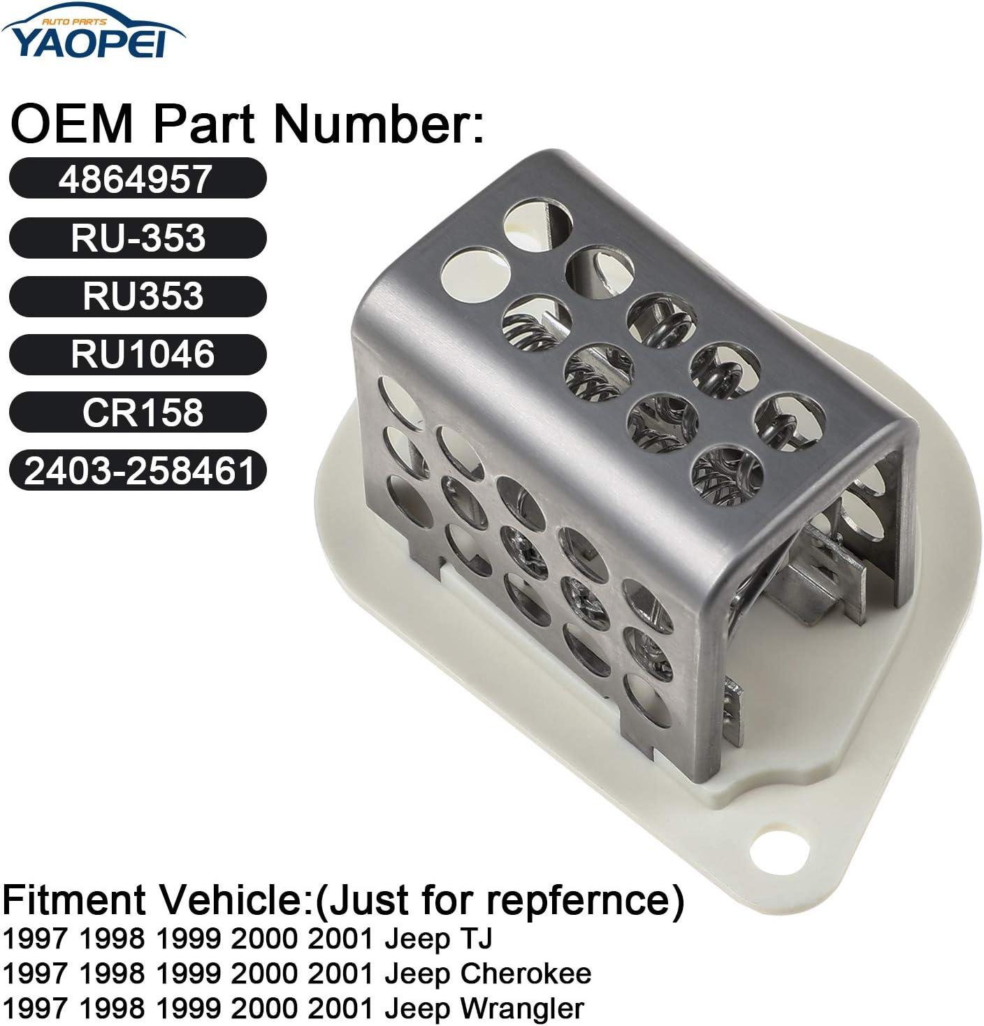 Jeep TJ Cherokee Wrangler 1997-2001,Heater Blower Motor Resistor,4864957 RU-353