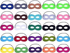 Sunmns 25 Pieces Cosplay Half Party Hero Felt Eye Masks with Elastic Rope, Multicolor