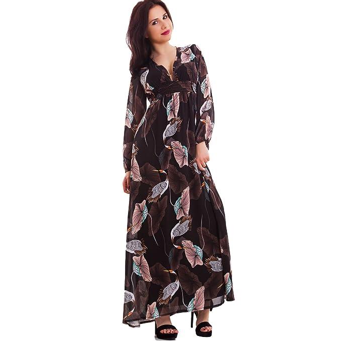 203e9dff87c9 Toocool - Vestito lungo donna abito stile impero scollato elegante fantasia  nuovo CR-2534  Taglia unica