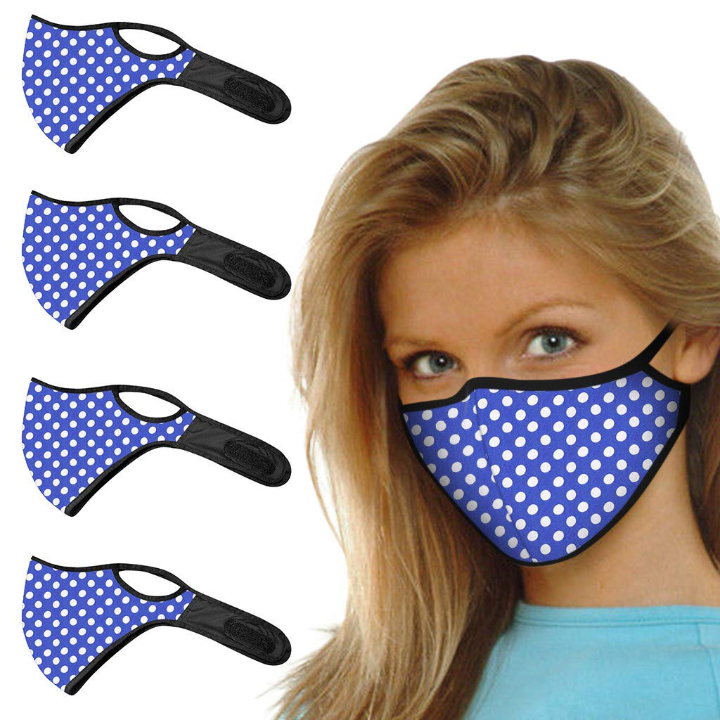 Adult Face Protection Polka Dot Print Facemasks Facial Decoration Reusable Washable Dustproof Facemask for Cycling Travel