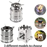 Wood Burning Collapsible Stove-YouWise Stainless Steel Mini Portable Lightweight Stove with Mesh Carry Bag -Perfect for Outdoor Cooking,Picnic Camping,Survival Packs, Emergency,Multi Models to Choose