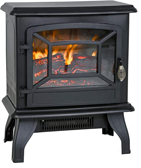 Electric Fireplace Heater 20 Freestanding Fireplace Stove Portable Space Heater With Thermostat For Home Office Realistic Log Flame Effect 1500w Csa Approved Safety 20 Wx17 Hx10 D Black Home Kitchen