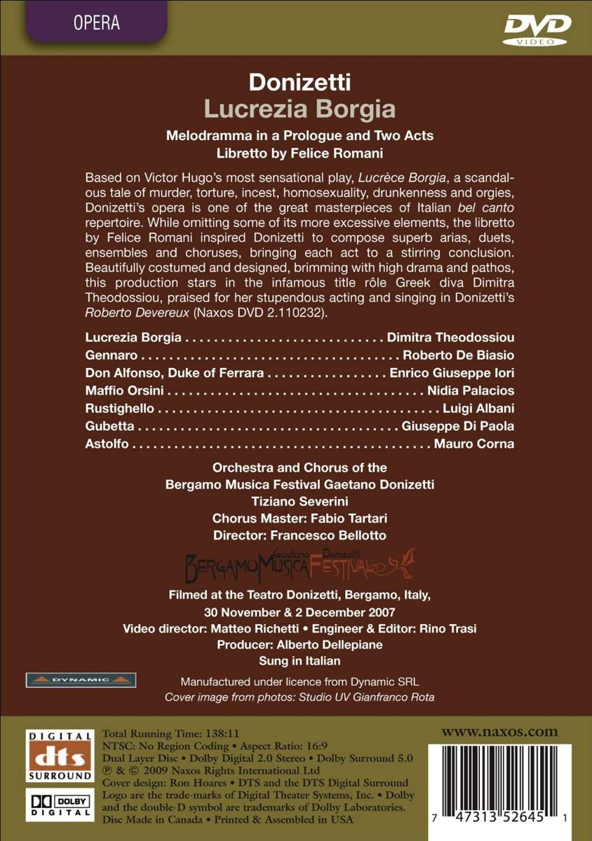 Amazon.com: Donizetti: Lucrezia Borgia: Theodossiou, De Baisio, Iori, Palacios, Albani, Di Paola, Corna, Bellotto: Movies & TV