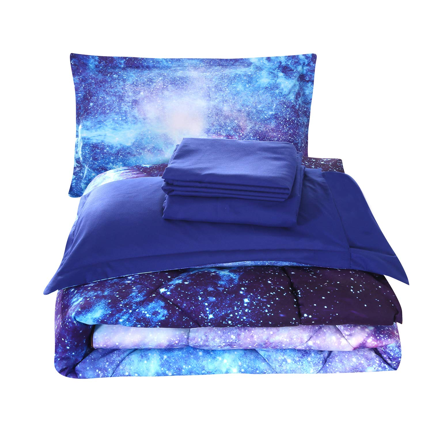 Wowelife Galaxy Comforter Sets Queen 3D Outer Space Blue Bedding Sets 5 Piece with Print Comforter for Adults and Teens(Queen-5 Piece, Blue Galaxy)