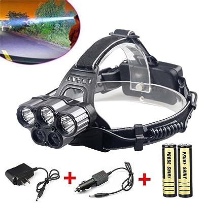 30000lumens (lm) 6modes 5x XM-L T6LED durable batterie 18650rechargeable étanche en métal CREE Lampe frontale lampe frontale Head Light Lampe de poche lampe torche