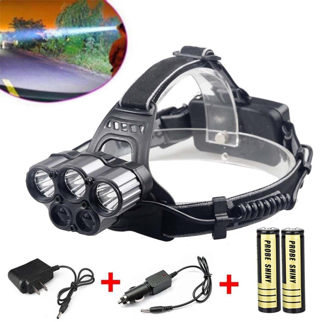 30000 Lumens(LM) 6 Modes 5x XM-L T6 LED Durable Rechargeable 18650 Battery Waterproof Metal CREE Head Torch Headlamp Head Light Flashlight Torch TianranRT