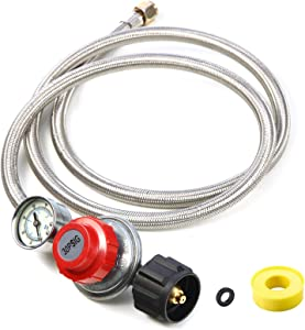 5Ft Adjustable Propane Regulator Hose Braided Steel 0~30 PSI Gas Flow Indicator for Fire Pit, Turkey Fryer, Burner, Cooker, Grill, Firepit etc-CSA Certification, QCC1 x 3/8 Female Flare Connection