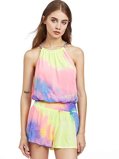 b304bb6033d8 Amazon.com  Romwe Women s Sleeveless Elastic Mid Waist Tie Dye Halter  Romper Jumpsuit  Clothing