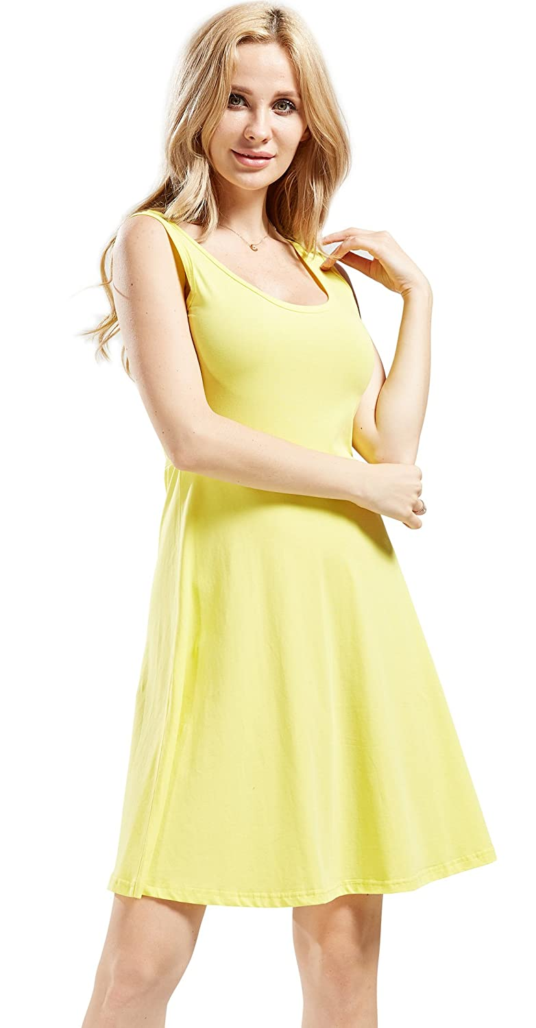Yellow Chouyatou Women's Summer Sleeveless FitFlare Stretched Midi TankDress