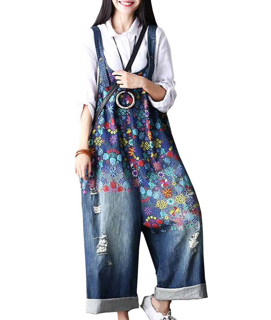 4ee7edc35ff YESNO P60 Women Jeans Cropped Pants Overalls Jumpsuits Hand Painted Poled  Distressed Casual Loose Fit product