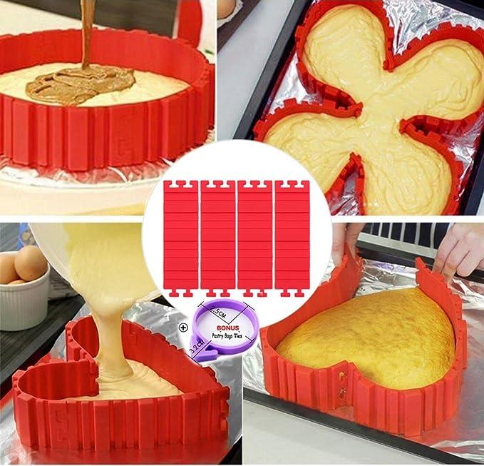 Molde de la torta de CuOmix, DIY Silicona Molde Flexible Hornada ...