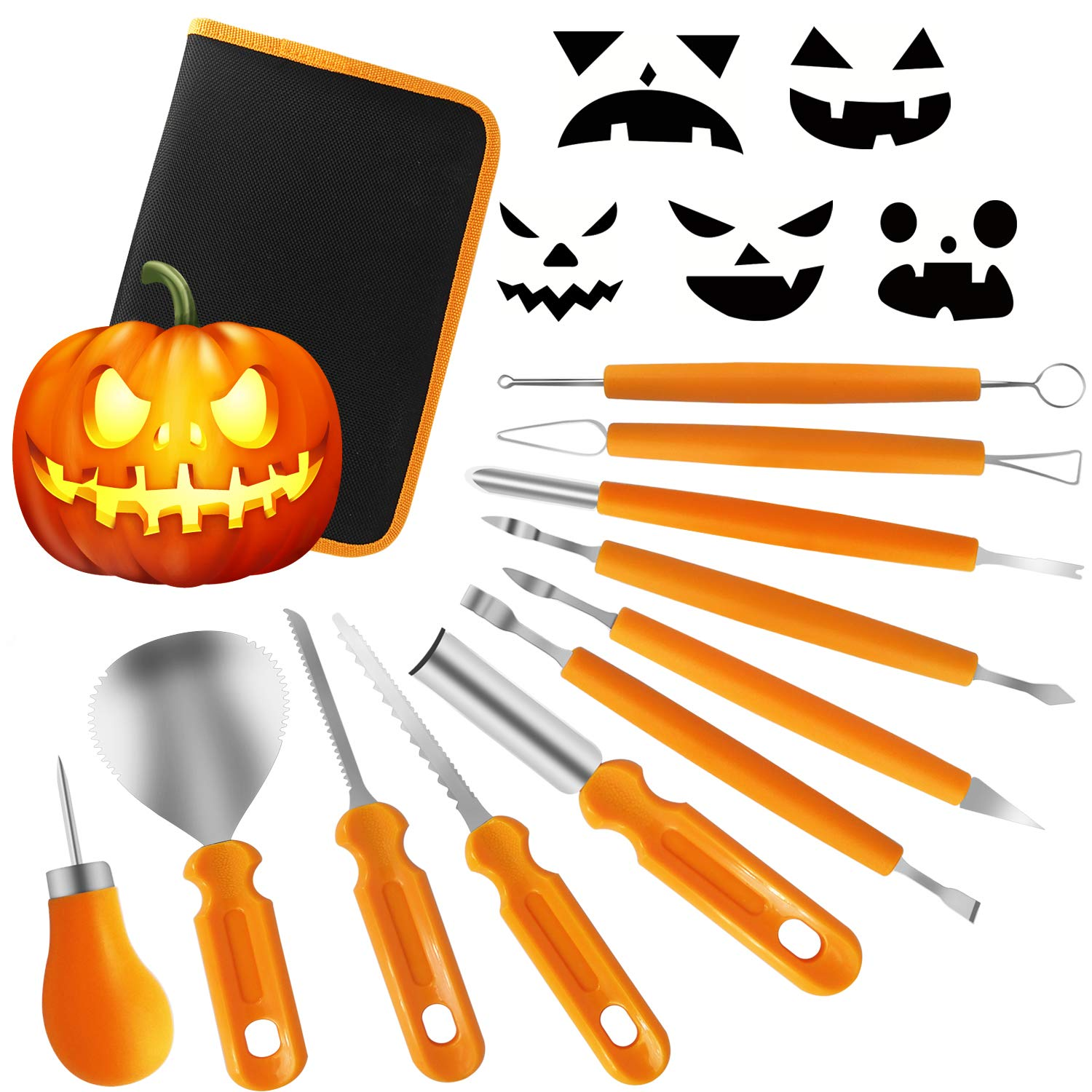 Kederwa Pumpkin Carving Kit, 11Pcs Heavy Duty Stainless Steel Carving Tools with Carrying Case for Pumpkin decoration jack-o-lantern carving (B Style) by Kederwa
