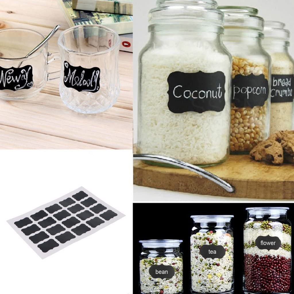 40 Pieces Chalk Pen Chalkboard Sticker Bottle Labels Kitchen Jar Wall Cup Can KOFUN Sheets Labels