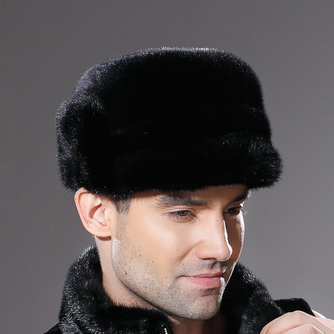 URSFUR Mne's Winter Fur Cap Genuine Mink Fur Fudd Hat Black M by URSFUR (Image #5)